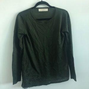 Zara Knit | Sheer blouse | Crocheted embellishment